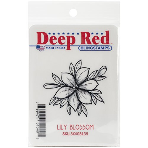 Deep Red Stamps Lilly Blossom Rubber Stamp - 1