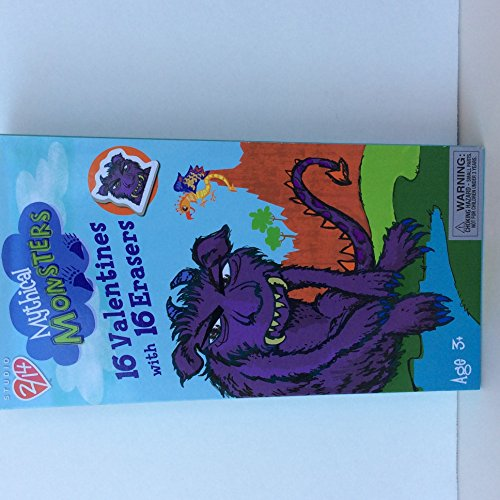 Paper Magic 16CT Studio 2/14 Mythical Monsters Kids Classroom Valentine Exchange Cards