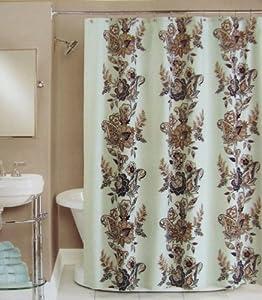 Peri Shower Curtain Fabric Calliope Blue Brown Grey Tan White 72