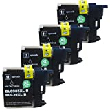 4 Black CiberDirect High Capacity Compatible Ink Cartridges for use with Brother DCP-J515W Printers.