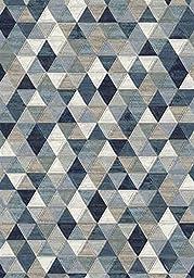 Area Rug, Blue/Multi-Colored Geometric Diamonds Stain Resistant Carpet, 7\' 10\
