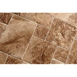 Noce / Chocolate Travertine Brushed & Chiseled Versailles Pattern Tile