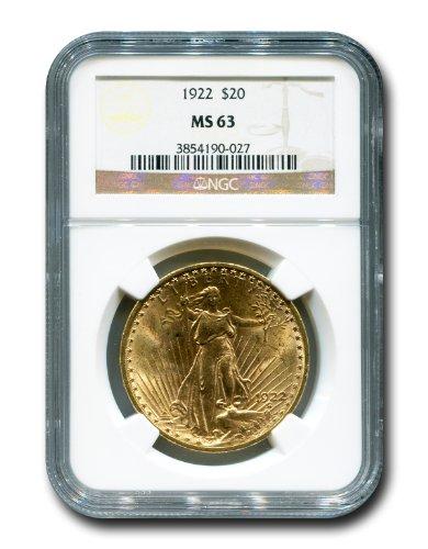 1922 No Mint Mark Saint Gaudens Twenty Dollar NGC MS-63