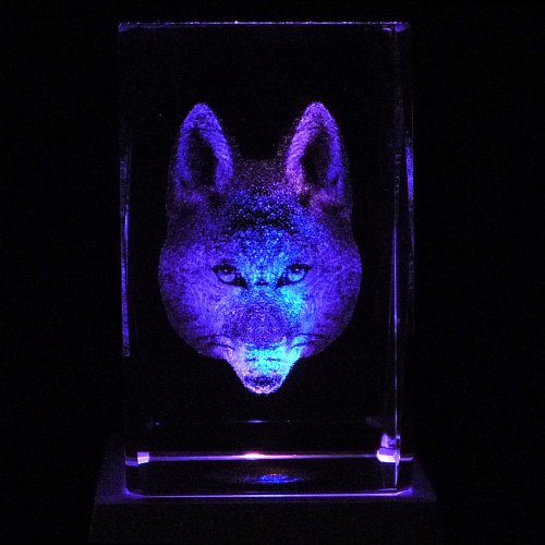 Fox Face 3D Laser Etched Crystal + Rotating Display Light Base With 7 Multi Color Led'S