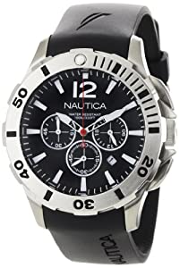 Nautica Men's N16564G BFD 101 Black Resin and Black Dial Watch