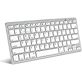 Caseflex Ultra Slim Wireless Bluetooth Keyboard For All IOS, IPad, Android, Mac, & Windows Devices - Silver &...