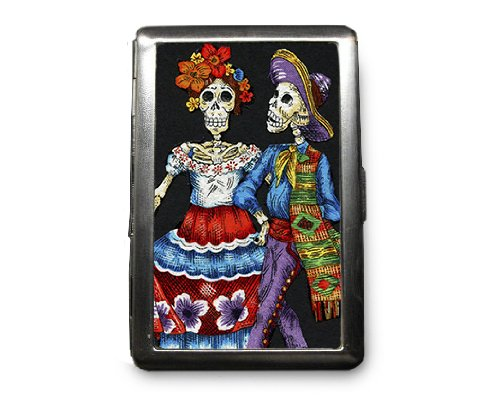 Day of the Dead Skeletons Decorated ID Cigarette Case Wallet - CD249