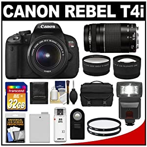 Canon EOS Rebel T4i Digital SLR Camera Body & EF-S 18-55mm IS II Lens with 75-300mm III Lens + 32GB Card + Flash + Battery + Case + Filters + Remote + Telephoto & Wide-Angle Lenses + Accessory Kit