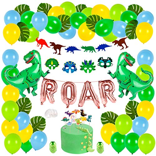 Dinosaur Party Supplies Dino Birthday Party Decoration Set for Kids, ROAR Banner Dinosaur Balloons and Cake Topper, Colorful Felt Garland, Dinosaur Mask for Jungle Dinosaur Theme Birthday Party Supplies