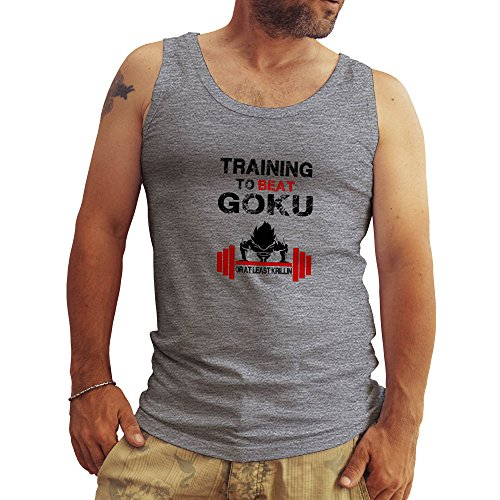 Bodybuilding Training To Beat Goku Dragonball Atheltic FB Banksy Logo Grigio Canotte Da Uomo Tank Tops Large