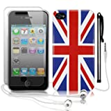 IPHONE 4 / IPHONE 4G UNION JACK GLOSSY BACK COVER CASE / SKIN / SHELL W/SCREEN PROTECTOR STYLUS & HEADSET PART OF THE QUBITS ACCESSORIES RANGEby Qubits