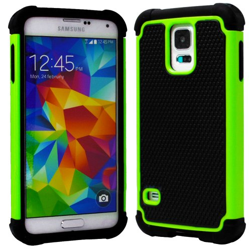 "myLife (TM) Black and Lime Green - Free Flex Series (2 Layer Neo Hybrid) Slim Armor Case for the NEW Galaxy S5 (5G) Smartphone by Samsung (External Rubberized Hard Shell Flex Piece + Internal Soft Silicone Flexible Bumper Gel + Lifetime Warranty + Sealed in myLife Authorized Packaging) ""ADDITIONAL DETAILS: This slim armor case was designed exclusively for the NEW Galaxy S5 by Samsung and come at Amazon.com"