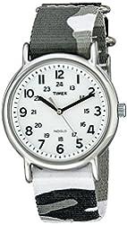 Timex Unisex T2P366 Weekender Gray Camo Slip-Thru Nylon Strap Watch
