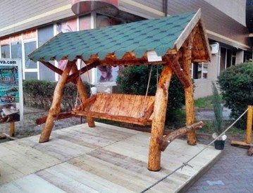 Casa Padrino Garten Schaukel Rustikal überdacht Hollywood Schaukel Mod S2 – Eiche Massivholz – Echtholz Massiv günstig bestellen