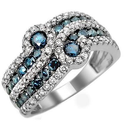 1.90Ct Blue Round Diamond Anniersary Band Ring 14K White Gold