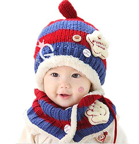 JT-Amigo Sciarpa e Berretto Cappello Invernale a maglia Bimba Bambina Disegni Baseball Blu & Rosso