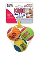 Kong AIR DOG 3-PACK HAPPY BIRTHDAY Squeaker Tennis Balls -Fetch Toy (AST2Y)