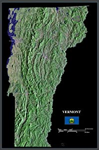 "Vermont from space satellite map/print poster/photo: 24"" x 36"" Glossy"
