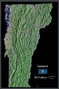 """Vermont from space satellite map/print poster/photo: 24"""" x 36"""" Glossy"""