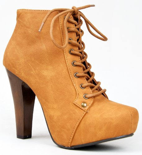 Women&#8217;s Qupid Velvet Lace Up Ankle Booties
