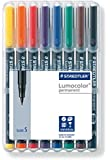 Staedtler 313 WP8 Lumocolor Universal Permanent Superfine Pens - Assorted Colours