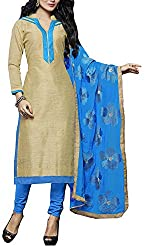 Nilkhanthivarni Fashion Women's Art Silk Unstitched Dress Material (Beige and Blue)
