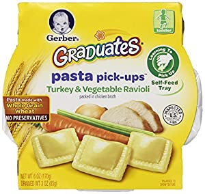 Gerber Graduates Pasta Pick-Ups Ravioli, Turkey and Vegetable, 6 Ounce, 8 Count