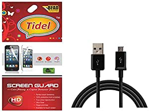 Tidel Ulta Clear Screen Guard For Huwai Honor holly U19 With USB DATA Cable
