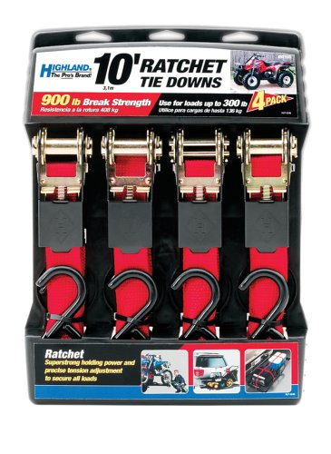 10 Red Ratchet Tie Down with Hooks Highland 4 pack 9210500