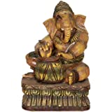 Lord Ganesha Playing Musical Instrument - South Indian Temple Wood Carving