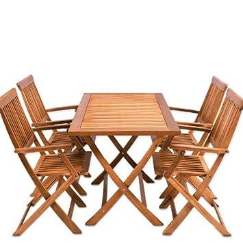 Sitzgruppe 5tlg SYDNEY Sitzgarnitur Gartengarnitur Holz 4 Stuhle 1 Tisch