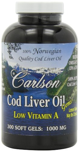 Carlson Labs Norwegian Natural Low Vitamin A Cod Liver Oil, Lemon Flavor, 1000Mg, 300 Softgels