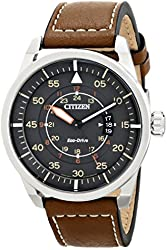 Citizen Men's AW1361-10H Avion Stainless Steel Watch with Brown Leather Band