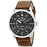 "Citizen Men's AW1361-10H ""Sport"" Stainless Steel Watch with Brown Leather Band"