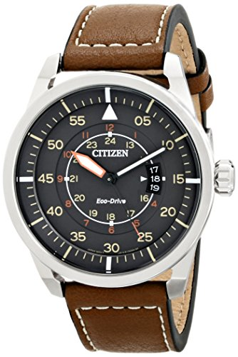 Citizen Eco-Drive Men's AW1361-10H Sport Stainless Steel Watch with Brown Leather Band - 51N1Fh 2B PzL - Citizen Eco-Drive Men's AW1361-10H Sport Stainless Steel Watch with Brown Leather Band