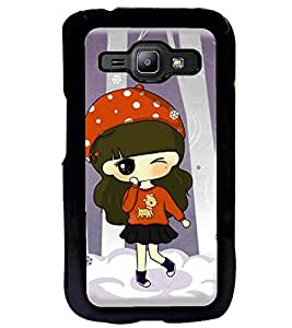 Fuson Premium Dancing Girl Metal Printed with Hard Plastic Back Case Cover for Samsung Galaxy J1