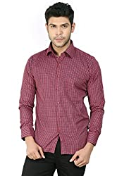 Basilio's Red Colored Semi Formal Shirt For Men-XL