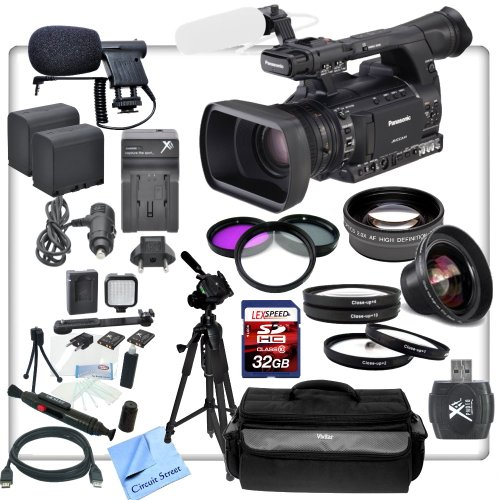 Panasonic Ag-Ac130A Avccam Hd Handheld Camcorder With Cs Documentary Package: Includes Led Video Light, High Definition Wide Angle Lens, Telephoto Hd Lens, Professional Soft Carrying Case, Sturdy Aluminum Tripod, 32Gb Sdhc Memory Card, Sd Card Reader, 3 P
