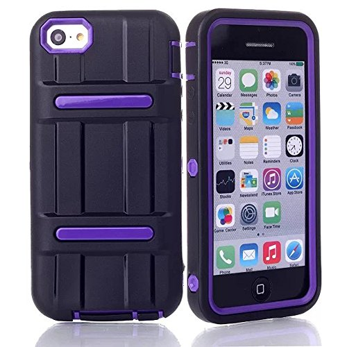 Meaci® Iphone 5C Combo Hybrid Defender High Impact Body Armorbox Hard Pc&Silicone Case With 1X Diamond Anti-Dust Plug Stopper-Random Color (Purple)
