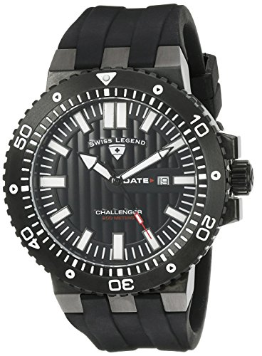 SWISS LEGEND Challenger 10126-BB-01-WA 50 Stainless Steel Case Rubber Anti-Reflective Sapphire Men's Quartz Watch