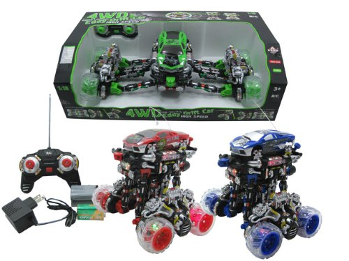 1:18 Scale Full Function 4WD Eddy Drift Car, 360 Degree Turning, Flashing Lights, Music, Rechargeable batteries - - R/C STUNT VEHICEL(BATTERY & CHARGER INCLUDED) High Speed - Color RED