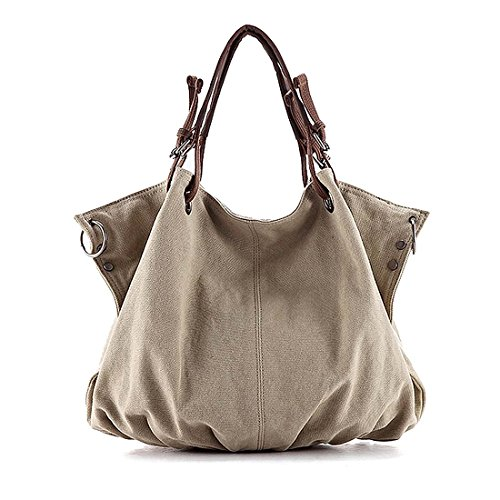 BMC Pale Khaki Denim Multi Zipper Pocket Oversized Lined Fashion Handbag Satchel Shopper Tote