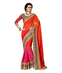 Fabviva Women's Georgette Saree with blouse(royal_Orange)