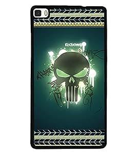 Printvisa 2D Printed Skull Designer back case cover for Huawei P8- D4183