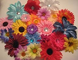 50 Silk Flowers Mixed Lot Daisies Lilies Peonies Roses Bulk Flowerheads for Hair Clips, Headbands, Scrapbooking SCB Wholesale