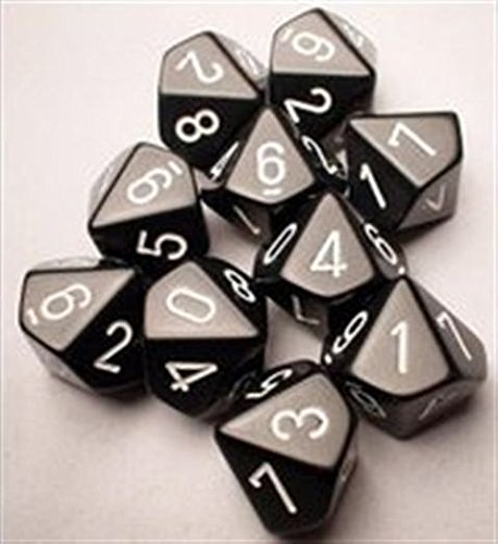 Chessex Dice Sets: Opaque Black with White - Ten Sided Die d10 Set (10)