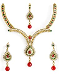 Shining Diva Pearl Beaded Ethnic Necklace Set With Maang-Tika For Women