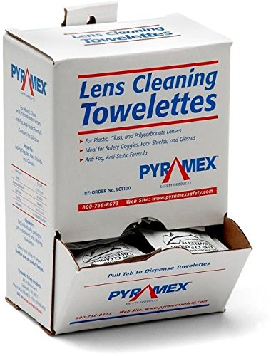 Pyramex Individually Packaged Lens Cleaning Towelettes - 100 Pack - 8