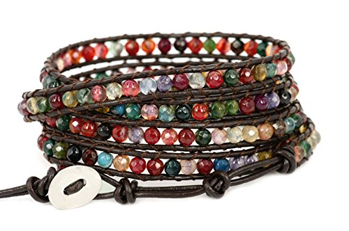 "Blueyes Collection, ""Spirited"" Multi Color Faceted Cut Genuine Agate Leather Bracelet, 5 Wraps, 4Mm/Bead"
