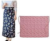 かわいい花柄デザイン まきまき フリース ブランケット ひざ掛け 【ネイビー+ ピンク 2色組】 約90×120cm